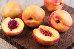 Nectarine. Fruit on a wooden Stock Images