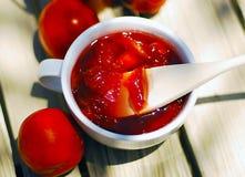 Nectarine, peach jam. Stock Photos