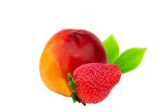 Nectarine peach strawberry fruit isolated on white Stock Images