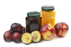 Nectarine,plums and jam stock photos