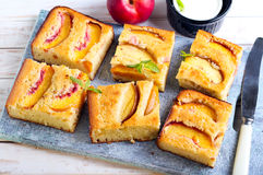 Nectarine polenta cake Royalty Free Stock Photography