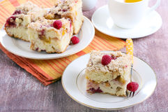 Nectarine and raspberry buckle Stock Images