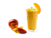 Nectarine smoothie. A glass of nectarine smoothie isolated on a white background stock photography