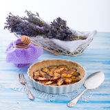 Nectarine tarte with lavender and honey Royalty Free Stock Image