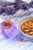 Nectarine tarte with lavender and honey Stock Images