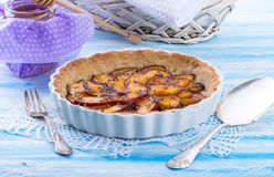 Nectarine tarte with lavender and honey Royalty Free Stock Photos