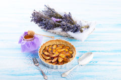 Nectarine tarte with lavender and honey Royalty Free Stock Images