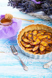 Nectarine tarte with lavender and honey Stock Photography