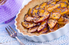 Nectarine tarte met lavendel en honing Royalty-vrije Stock Foto