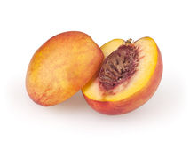 Nectarine  on white. Background with clipping path Stock Photos