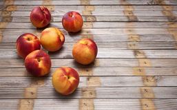 Nectarine Wood Background Stock Photo