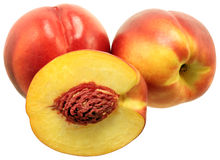Nectarines. Three  nectarines on white background Royalty Free Stock Images