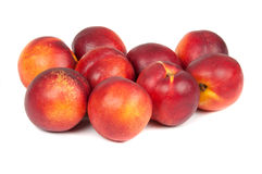 Nectarines. Red nectarines on white background Royalty Free Stock Photos