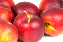 Nectarines. Red nectarines on white background Royalty Free Stock Photography