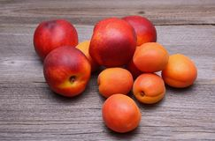 Nectarines and apricots on wooden table Stock Photos