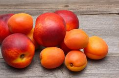 Nectarines and apricots on wooden table Royalty Free Stock Image