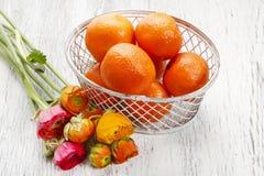 Nectarines in basket Stock Image