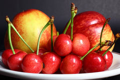 Nectarines and cherry Stock Photos