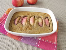 Nectarines clafoutis with buckwheat flour Royalty Free Stock Photography