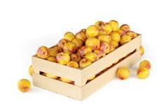 Nectarines dans une boîte en bois d'isolement rendu 3d Photographie stock