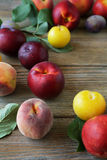 Nectarines and peaches on wooden background Stock Photo