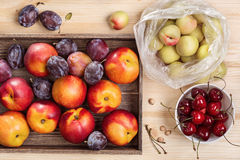 Nectarines, plums and cherries. Studio Still Life with nectarines in the box and plastic bag, sweet cherry in a white cup royalty free stock images