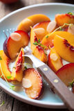 Nectarines and plums in syrup Stock Image