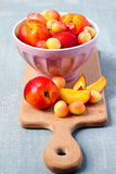 Nectarines and sweet cherry Stock Photo
