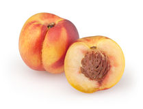 Nectarines  on white. Background with clipping path Royalty Free Stock Image