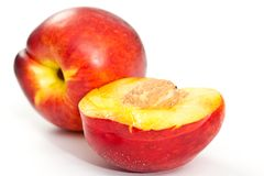 Nectarines on white background Royalty Free Stock Photo