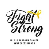 Nector Calligraphy Poster. Yellow Awareness Ribbons of Sarcoma Cancer Vector illustration Royalty Free Stock Image