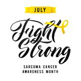 Nector Calligraphy Poster. Yellow Awareness Ribbons of Sarcoma Cancer Vector illustration Stock Image