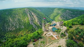 Necven fortress, aerial stock footage