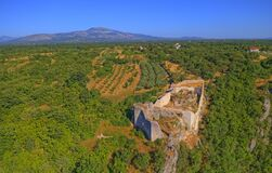 Free Necven Fortress Remains On The West Side Of Mountain Promina In Croatia, Aerial Stock Photo - 179269260