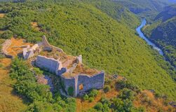 Free Necven Fortress Remains On The West Side Of Mountain Promina In Croatia, Aerial Stock Photography - 179269442