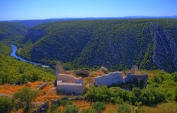 Free Necven Fortress Remains On The West Side Of Mountain Promina In Croatia, Aerial Stock Photo - 179269550