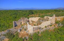 Free Necven Fortress Remains On The West Side Of Mountain Promina In Croatia, Aerial Royalty Free Stock Photography - 179269697