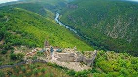 Necven medieval ruins, aerial stock footage