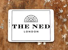The ned hotel logo. Logo of the ned hotel on samsung tablet.  The Ned is a hotel & members club in the City of London with nine restaurants, indoor & rooftop Stock Image