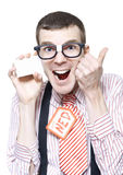 Ned The Sales Man Nerd Holding Business Card Stock Images