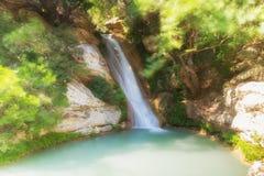 Neda在希腊 著名和美丽的瀑布 免版税库存图片