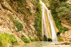 Neda瀑布在伯罗奔尼撒 使用的慢快门 免版税库存照片