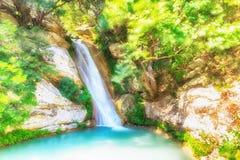 Neda瀑布在希腊 艺术性的视图 库存图片