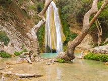 Neda siklawa w Grecja Piękny i mityczny turystyczny miejsce przeznaczenia obrazy royalty free