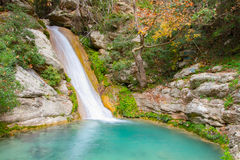 Neda Waterfall in Grecia Immagini Stock