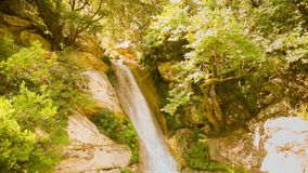 Neda waterfall slow motion in Peloponnese Greece stock video footage