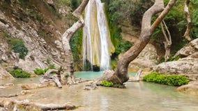 Neda waterval in de Peloponnesus Griekenland stock footage