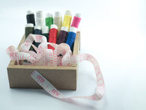 Neddle and yarn in box on white background. Isolate Stock Photos