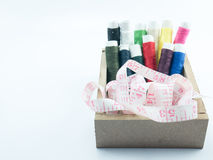 Neddle and yarn in box on white background. Isolate Stock Photography