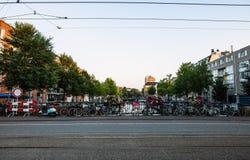 NEDERLÄNDERNA AMSTERDAM - OKTOBER 24, 2015: Bro på flodkanalen i höst på Oktober 24 i Amsterdam - Nederländerna Royaltyfria Bilder